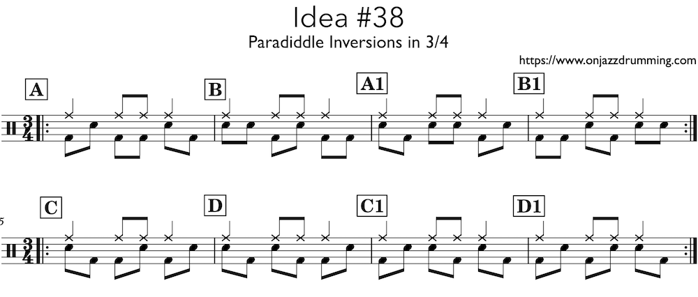 jazz drumming idea 38 | 3/4 Paraiddle | on jazz drumming