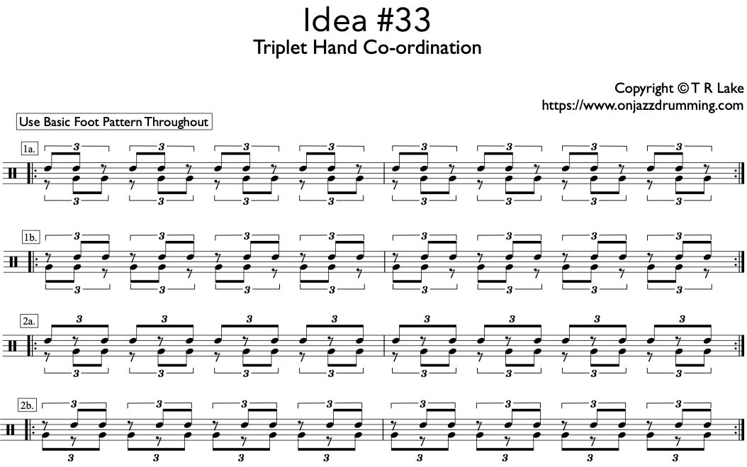 jazz drumming idea 33 | Triplet Hand Co-ordination | on jazz drumming
