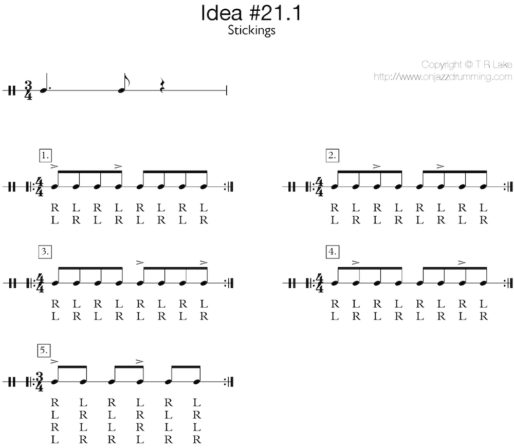 jazz drumming idea 21 | A Simple Phrase - Stickings | on jazz drumming