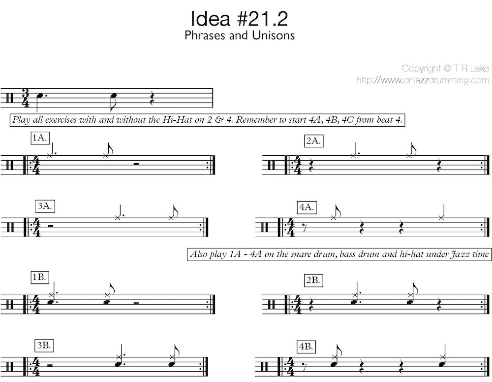 jazz drumming idea 21 | A Simple Phrase - Phrases | on jazz drumming