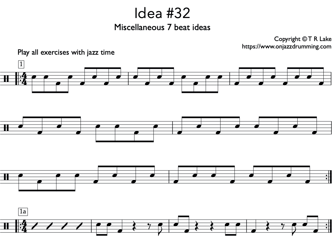 jazz drumming idea 32 | 7 Beat Ideas | on jazz drumming